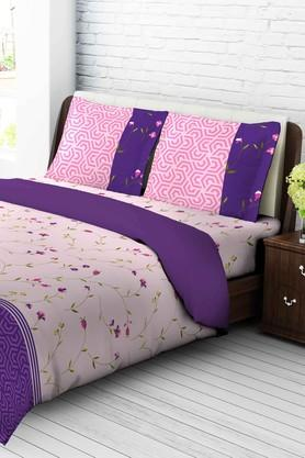 TANGERINE Cotton Floral King XL Bedsheet And Pillow Set - 201662957