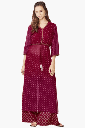 GLOBAL DESI Women's Printed Kurta With Palazzo Pants