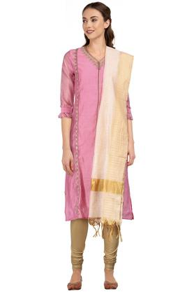 Womens V Neck Embroidered Churidar Suit