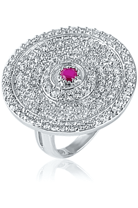 MAHIMahi Gold Plated Cocktail Ring With CZ & Ruby Stones For Women FR1100413R