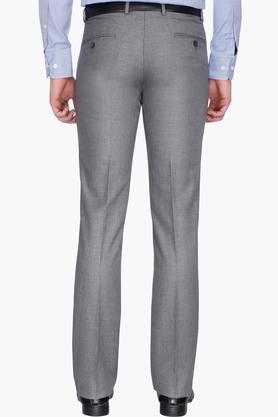 Mens Slim Fit Slub Formal Trousers