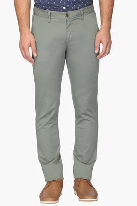 ALLEN SOLLY Mens Slim Fit 4 Pocket Solid Chinos