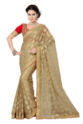 DEMARCA Women Chiffon Jacquard Saree (Buy Any Demarca Product & Get A Pair Of Matching Earrings Free)
