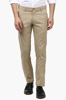 PARX Mens Tapered Fit 4 Pocket Solid Trousers  ... - 202134152