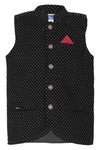 Boys Mandarin Collar Printed Jacket