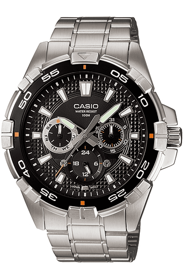 Enticer - Metallic Strap Watch with Black Round Dial