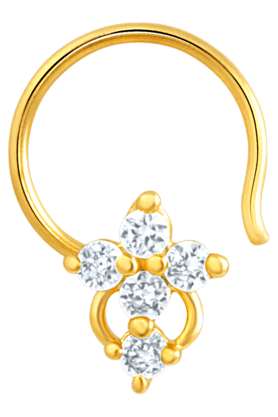 MAHI Mahi Gold Plated Symbolic Shine Nose Pin With CZ Stones For Women NR1100129G