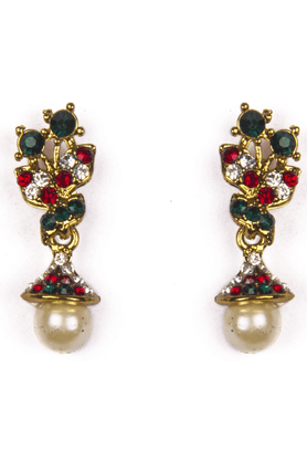 TRIBAL ZONE Ethnic Earrings With Red, Green And White Stones And Small Jhumka Hanging With A Pearl