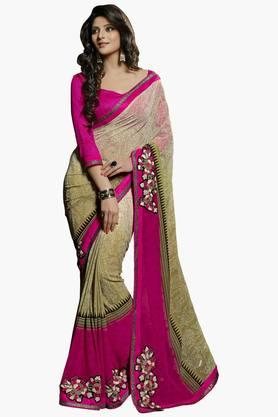 DEMARCA Womens Patch Work Saree