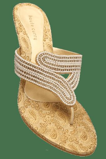 d6060c5e0d6130 Buy HAUTE CURRY Womens Slipon Party Wear Fancy Heel Chappal | Shoppers Stop