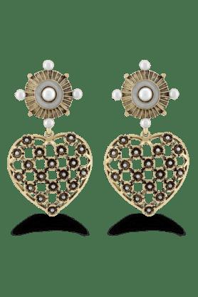 JAZZKundan Designer White Pearl Antique Gold Plated Earring Jewellery