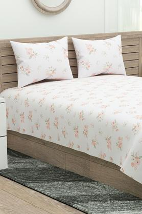 Four Reasons Floral Print Double Bedsheet with 2 Pillow Covers