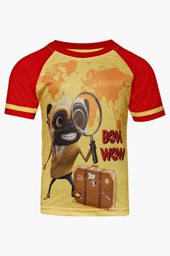Boys Round Neck Bow Wow Printed Tshirt