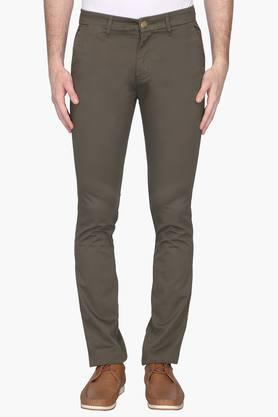 VDOT Mens Ultra Slim Fit 5 Pocket Solid Chinos