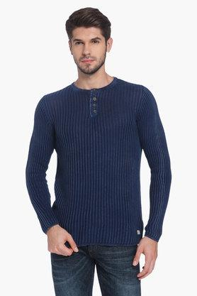 JACK AND JONESMens Henley Neck Stripe Sweater