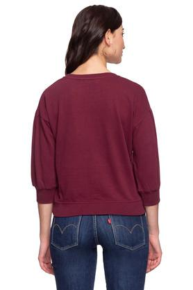 Womens Round Neck Graphic Print Sweater