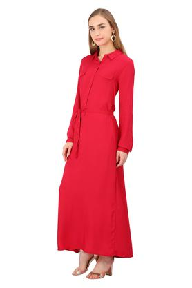 Womens Collared Solid Shirt Dress
