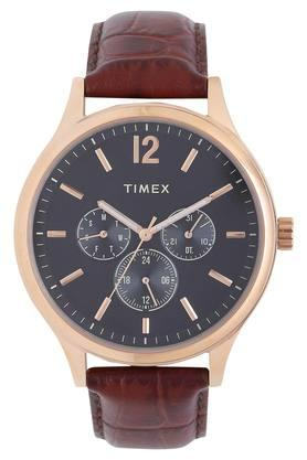 Mens Grey Dial Multi-Function Leather Watch - TWEG18404