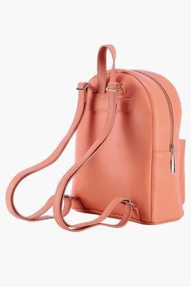 Womens Leather Zipper Closure Backpack