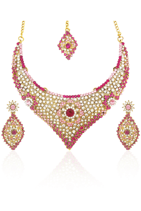 SIA Austrian Diamond Pink Necklace Set-16538