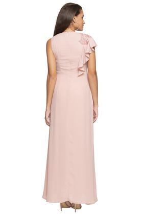Womens Round Neck Embellished Maxi Dress