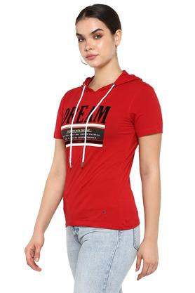Womens Hooded Neck Graphic Print T-Shirt