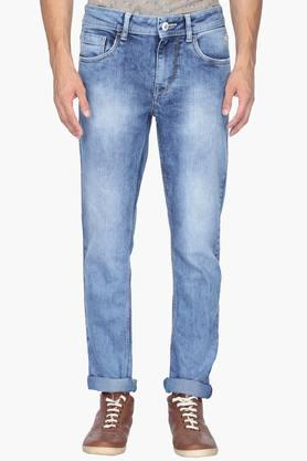 Flying Machine Jeans (Men's) - Mens Tapered Fit 5 Pocket Heavy Wash Jeans (Micheal Fit)