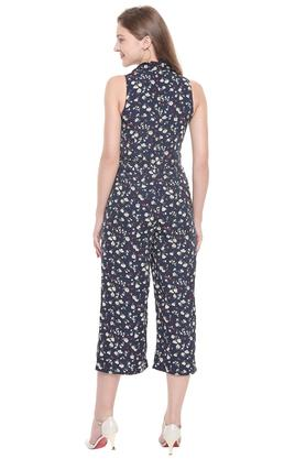 Womens Band Collar Floral Printed Jumpsuit