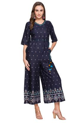 Womens V Neck Printed Embroidered Jumpsuit
