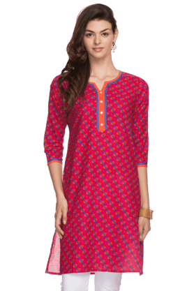 STOP Womens Crop Sleeves Printed Kurta