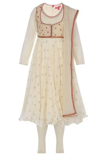 Girls Round Neck Printed Churidar Suit