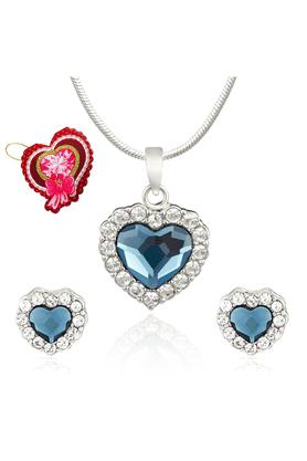MAHIMahi Montana Blue Titanic Heart Pendant Set Made With Swarovski Elements With Heart Shaped Card For Women NL5104119RBluCd