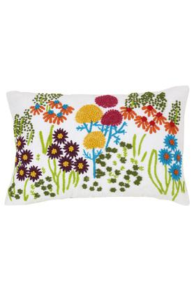 Rectangular Embroidered Floral Cushion Cover