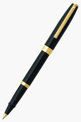 WILLIAM PENN Sagaris Black Gold Trim Snap On Roller Ball Pen