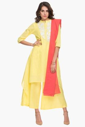 HAUTE CURRY Womens Mandarin Neck Embroidered Palazzo Suit  ...