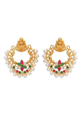 DONNA Traditional Ethnic Gold Plated Laxmi Ji Dangler Earrings With Pearls For Women By Donna ER30029G (Use Code FB15 To Get 15% Off On Purchase Of Rs.1200)