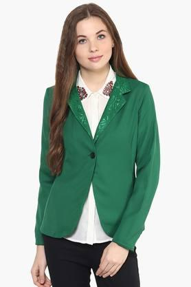 THE VANCA Womens Solid Lace Notched Lapel Jacket - 201743813