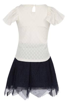 Girls Round Neck Printed Top and Skirt Set