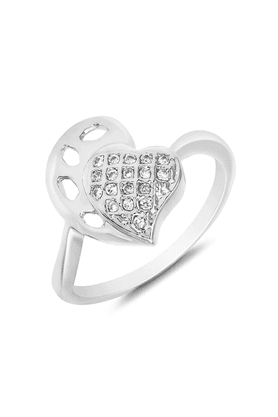 MAHI Mahi Rhodium Plated Trendy Heart Fingering With CZ For Women FR1100110R