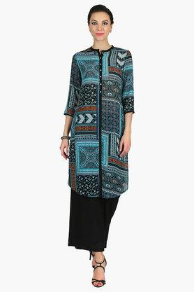 JUNIPER Womens Collared Long Kurta - 202312515