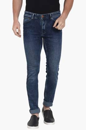 CELIOMens 5 Pocket Skinny Fit Stone Wash Jeans