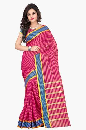 DEMARCA Womens Zari Work Cotton Saree