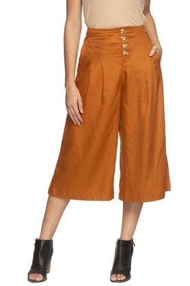 Womens 4 Pocket Solid Culottes