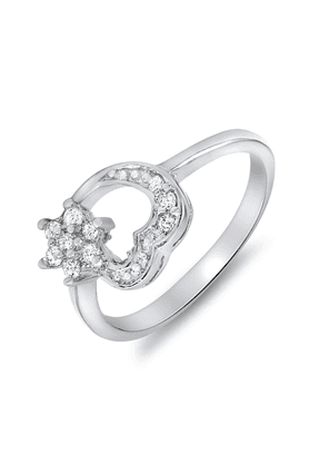 MAHI Mahi Rhodium Plated Flowery Heart Ring With CZ Stones For Women FR1100081R