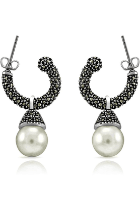 MAHI Mahi Rhodium Plated Ceremonial Bells Earrings Made With Swarovski Marcasite For Women ER1107046R