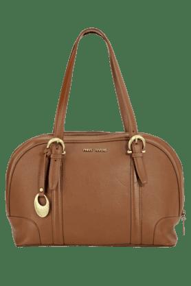 PHIVE RIVERSWomens Leather Zipper Closure Satchel