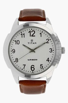 TITANMens White Dial Leather Strap Watch - 201606712