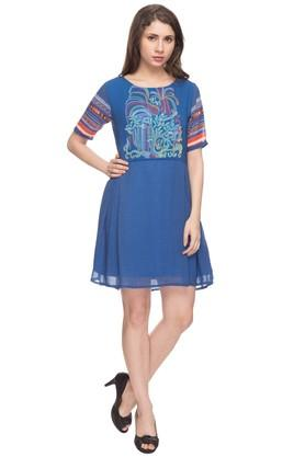 IMARA Womens Round Neck Printed Skater Dress
