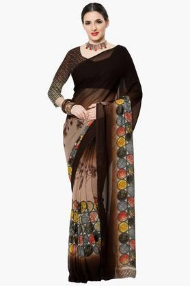 Women Faux Georgette Floral Geometrical Printed Saree
