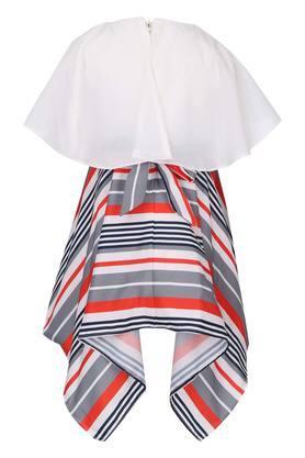 Girls Round Neck Stripe Asymmetrical Dress